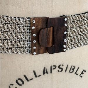 Anthropologie stretchy beaded belt wood buckle